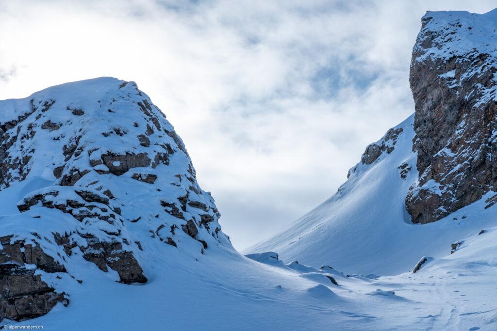 Aufstieg zum Grat oberhalb Sächserseeli, Spitzmeilengebiet