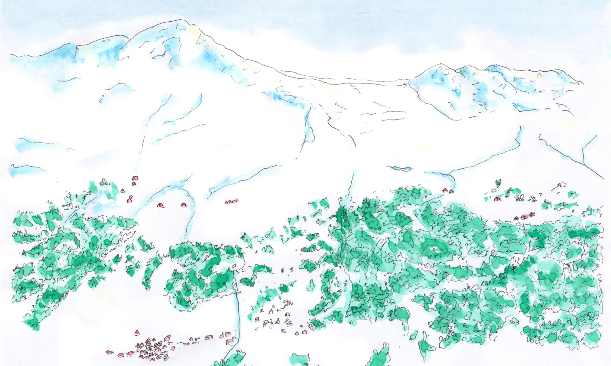 Illustration Winter Val Schons Naturpark Beverin